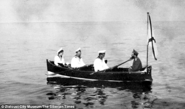Tsar Nicholas II and Alexei on a boat in Finland.