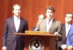 Gov. Perry delivering a speech before signing HB2 today.