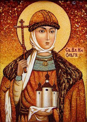 Святая равноапостольная княгиня Ольга. Икона из янтаря