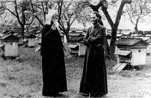 Отец Иустин со своим духовником, протосингелом Епифанием (Акатриней), на пасеке монастыря Секу, где он проходил одно из первых послушаний после освобождения, 1967 г.