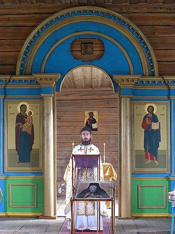 Д. Большой Бор. Чтение Евангелия за литургией в Ильинской церкви