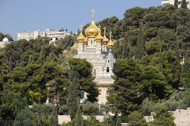 The St. Mary Magdalene Convent in the Garden of Gethsemane, Mount of Olives, Jerusalem.