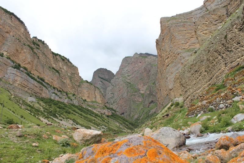 Вид на ущелье . Сочетание оранжевого и зеленого  – характерная особенность местного пейзажа