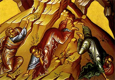 4. The three Apostles who accompanied Christ to the moutain, Peter, John, and James, react to the vision of Christ's Transfiguration.