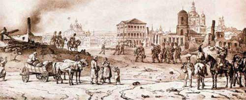 Смоленск 18 августа 1812 года. Литография по рисунку А. Адама. 1828. От Витебска до Смоленска.
