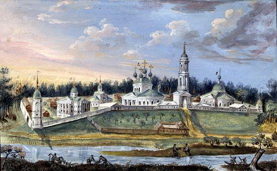 Оптина пустынь. Вид со стороны реки Жиздры. XIX век.