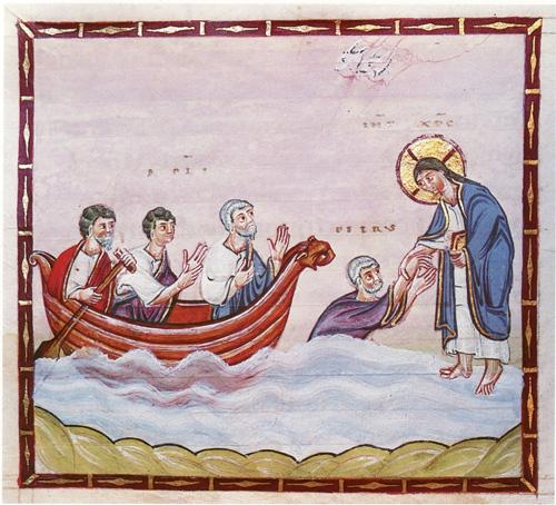 Спасение утопающего Петра. Книжная миниатюра 10 века из Codex Egberti, fol. 27v.(1)