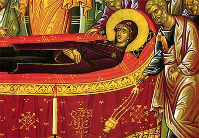 2. The Apostles bow their heads in reverence to the Theotokos as Saint Peter (right) censes her body (detail).