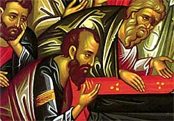 3. The Apostle Paul bows in honor of the Theotokos (detail).
