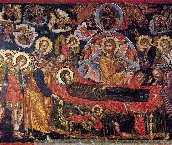 Успение Пресвятой Богородицы. Фреска монастыря Ставроникита, Афон. Автор: Феофан Критский