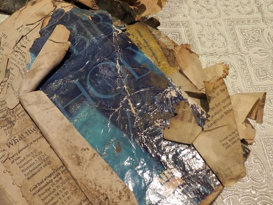 A charred Bible found on the site of the tragedy