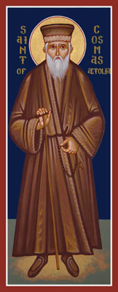 Святой Косма Этолийский (икона написана в Англии)