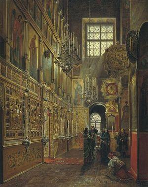 С. Шухвостов. Внутренний вид Алексеевской церкви Чудова монастыря в Московском Кремле. 1886