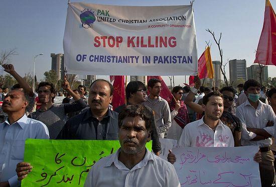 Протест христиан против притеснений в Пакистане.
