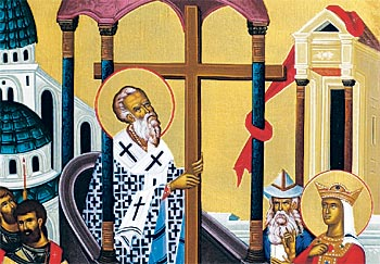 1. Patriarch Macarius is seen standing on the pulpit in the center of the icon elevating the Cross