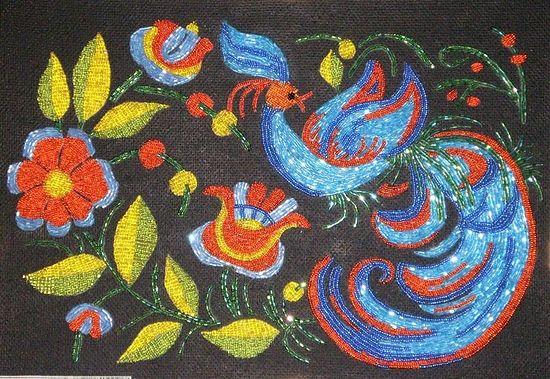 Жар-птица. Бисерная работа Елены Голубевой