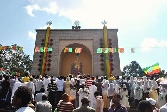 Orthodox Christian Ethiopians gather at Estifanos Church in Addis Ababa to mark the religious holiday Meskel on Sept. 27, 2013. Photo: IBTimes/Jacey Fortin