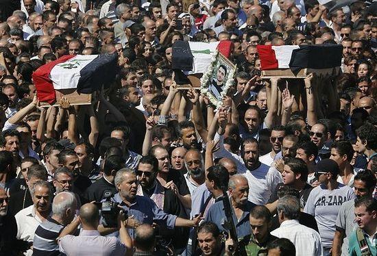 Дамаск, похороны троих христиан, убитых в Маалюле. Фото AFP / Getty Images