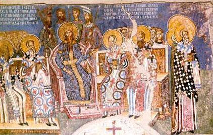 V Вселенский Собор. Роспись Успенского храма Любостинского монастыря, 1402-1405 гг.
