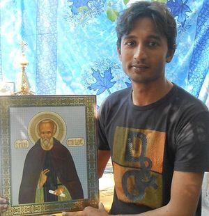 Санавар Марк с иконой преподобного Сергия Радонежского