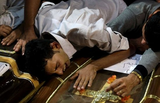 Funeral of Coptic Christians killed at a wedding. Photo: AP