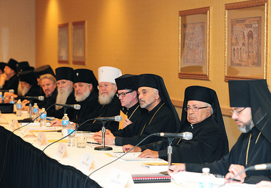 Members of the Assembly of Canonical Orthodox Bishops of North America at their annual meeting in Chicago.