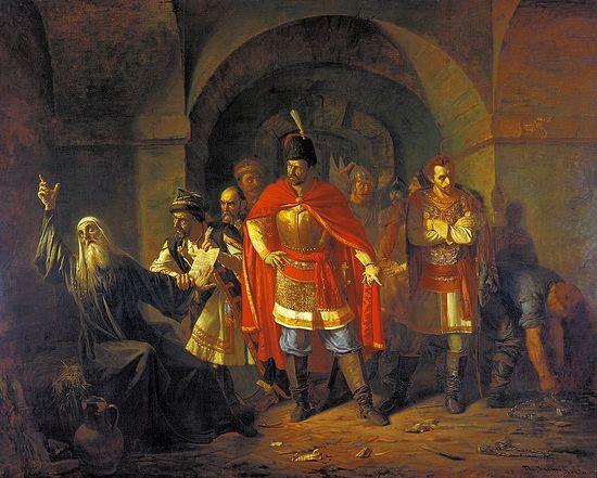 Патриарх Гермоген в темнице отказывается подписать грамоту поляков. Художник: Павел Чистяков, 1860
