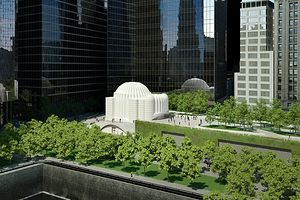 A rendering of the new St. Nicholas Greek Orthodox Church, with conceptual images of a landscaped open space known as Liberty Park.
