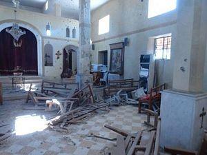 Разрушенная оппозицией церковь в Сададе, Сирия