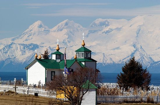 Orthodox church in the village of Ninilchik (Alaska)