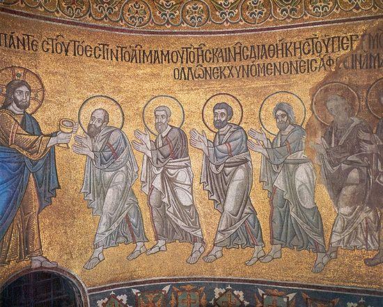 Причащение апостолов. Мозаика в Софии Киевской