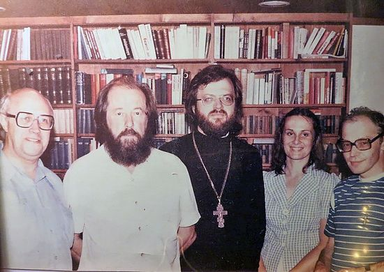 Father Victor and matushka Mary with A.Solzhenitsyn, M.Rostropovich and A.Ginsburg