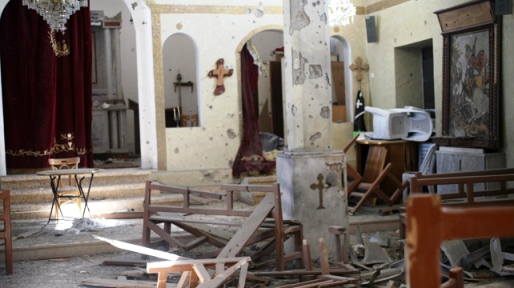 Another of Sadad's churches, desecrated by jihadis.