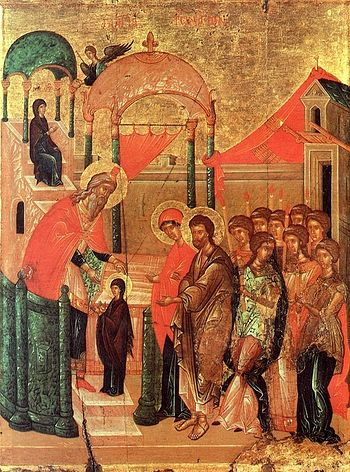 The Entry of the Mother of God into the Temple. Byzantium, XV century