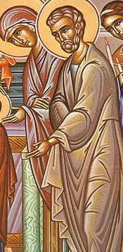 4. Saints Joachim and Anna bring Panagia to the Temple as they had vowed.