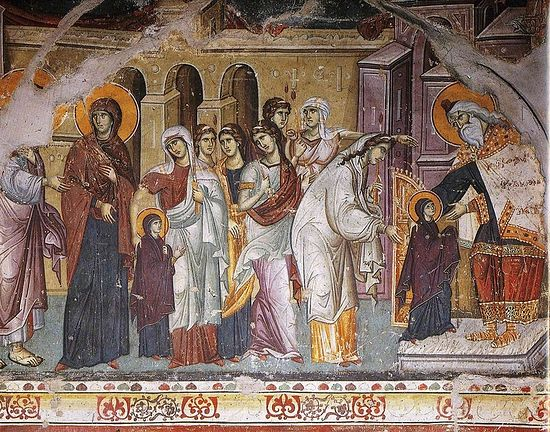 Entry of the Holy Theotokos Into the Temple. Panselinos, XIII century. Carey, Mount Athos
