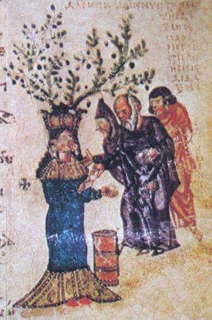 Олицетворение милосердия в виде женской фигуры, раздающей деньги бедным. Миниатюра из Хлудовской Псалтири. IX в. (ГИМ. Греч. № 129 д. Л. 35)
