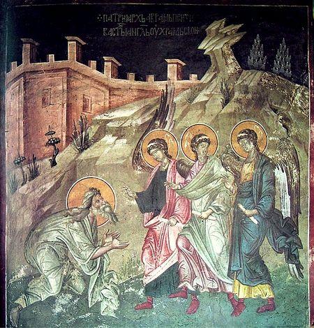 Гостеприимство Авраама. Южная стена; Балканы. Сербия. Грачаница; XIV в.
