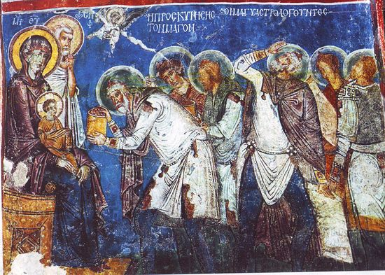 Worship of the magi. Twelfth century cave church fresco, Capadocia.