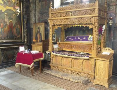 Рака с мощами преп. Паисия Величковского в Церкви Вознесения Нямецкого монастыря