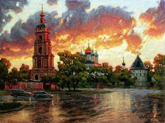 Огненный закат, Новоспасский монастырь. Художник: Игорь Разживин