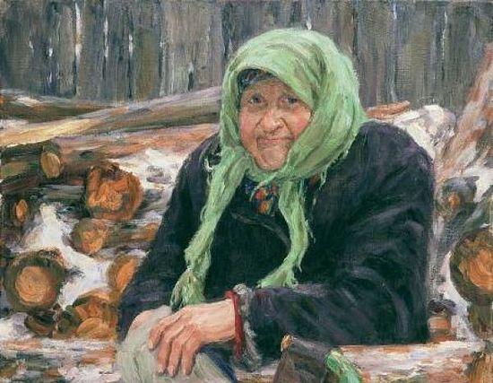 Старушка с дровами. Художник: Леонид Милованов