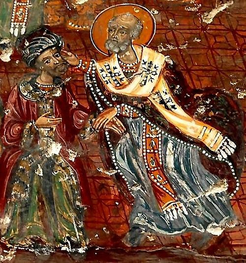 St. Nicholas depicted slapping the heretic Arius. Fresco of the Council of Nicea, Sümela Monastery