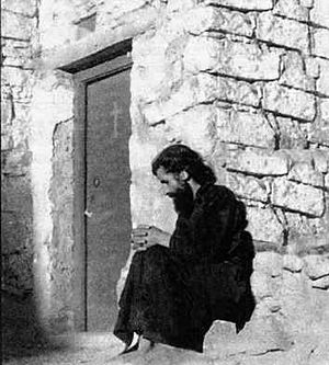 Starets Paisios of the Holy Mountain in the cell of SS. Galaction and Episteme on Sinai