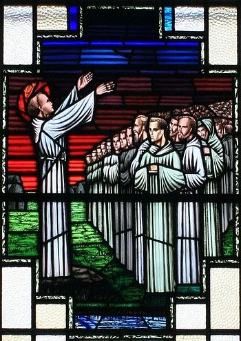 Stained glass image of St Finnian and his disciples at St Finnian's RC Church at Clonard