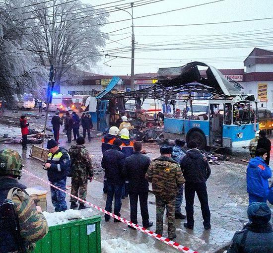 An explosion on a trolleybus near Kachinsky Market in Volgograd. Photo: RIA Novosti / Alexey Ulianov