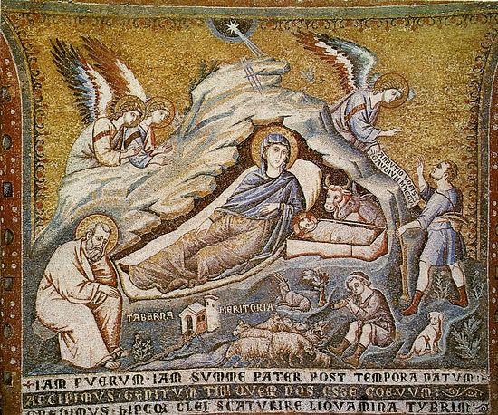 Рождество Христово. Пьетро Каваллини. Церковь Санта Мария ин Трастевере, Рим. 1291 г.