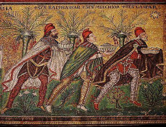 Волхвы Бальтазар, Мельхиор и Каспар. Мозаика