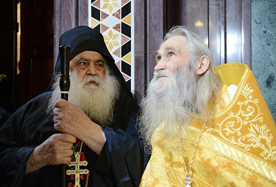 Архимандрит Парфений, игумен монастыря святого Павла на Афоне, и архимандрит Илий