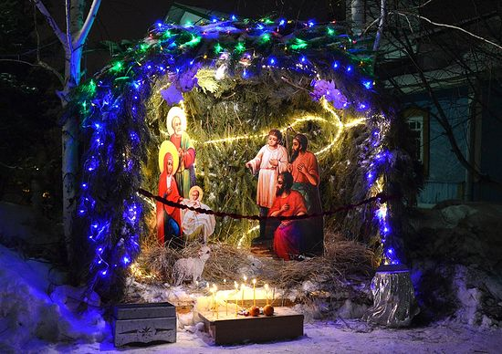 Рождественский вертеп у Константино-Еленинского собора г. Костанай. Фото: keparhia.kz
